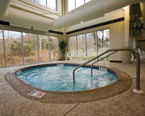 An indoor hot tub with a forest view.