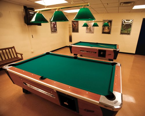 Indoor coin-operated pool tables.