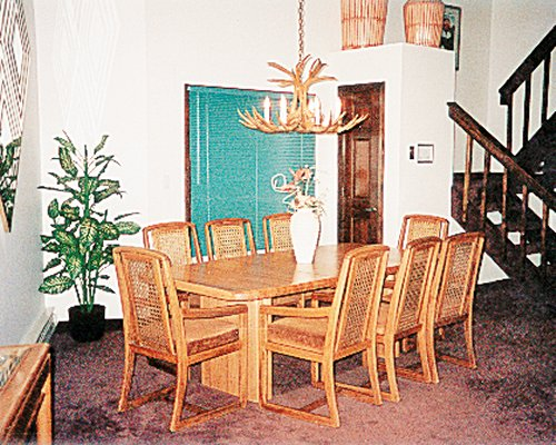 Dining area for eight people.