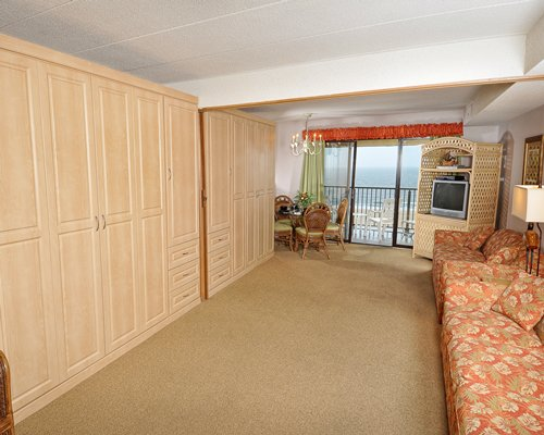 Master bedroom with multiple Murphy beds.