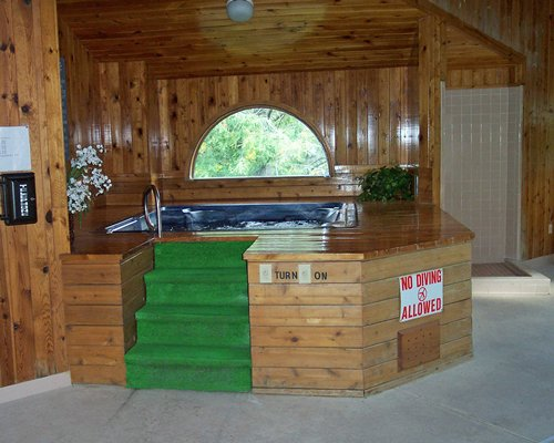 An indoor hot tub with a wooded view.