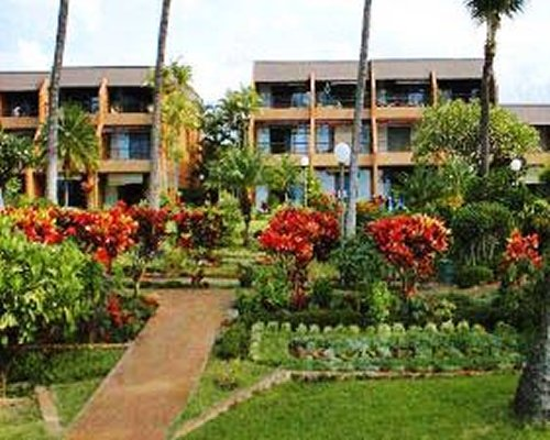 A scenic exterior view of multi-story units.