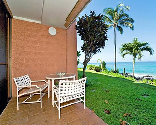 Ground floor patio facing the beach.