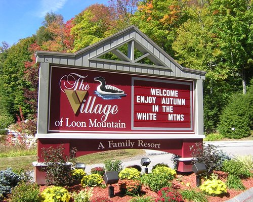 The Village of Loon Mountain Resort entrance sign.