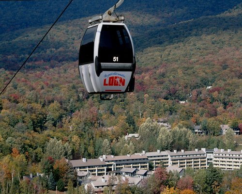 A mountain cable car high above the Village of Loon Mountain..