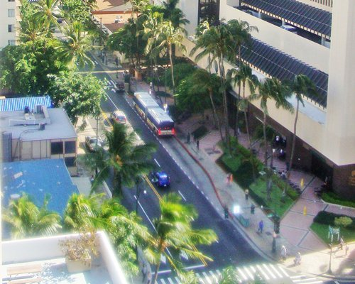 An aerial view of the street alongside the resort main building.