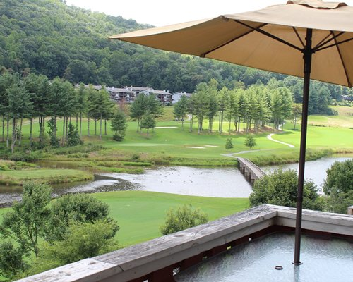 An outdoor hot tub.