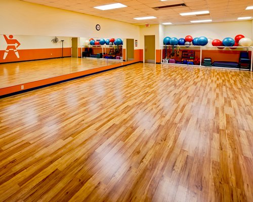 An indoor fitness room.