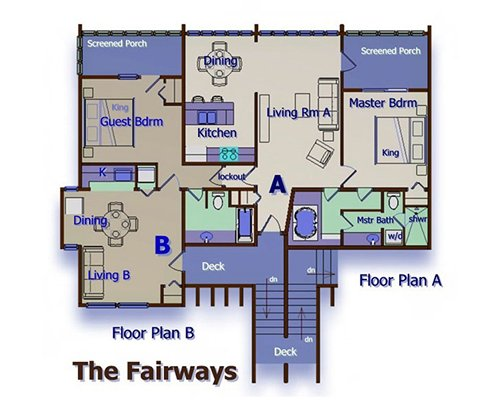 Graphic of The Fairways, Floor Plan A and Floor Plan B.