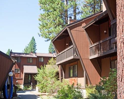 Scenic pathway to multiple units at Club Tahoe.
