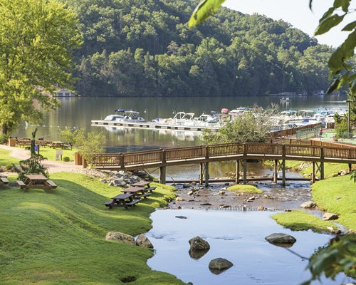 Scenic picnic area with a wooden bridge over a steam leading into the lake.