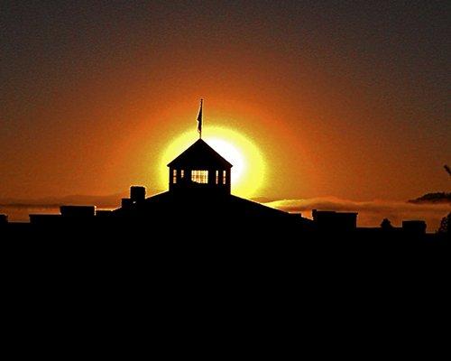 An aerial view of Stoneridge Resort at dusk.