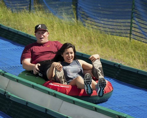 Couple sliding on the dry slide.