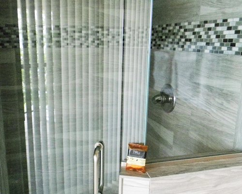 A bathroom with shower.