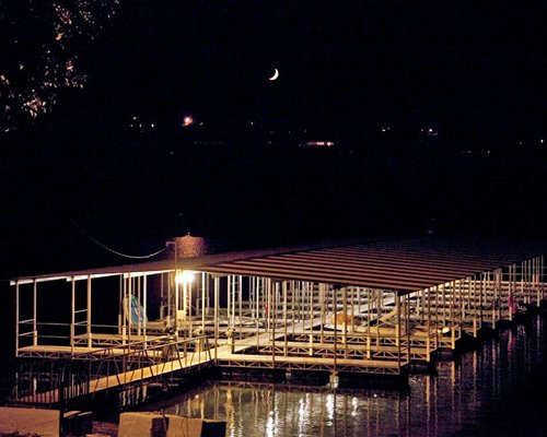 View of marina and lake at night.