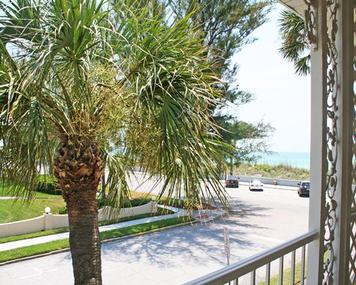 Scenic pathway at Camelot by the Sea with the view of palm trees and ocean.