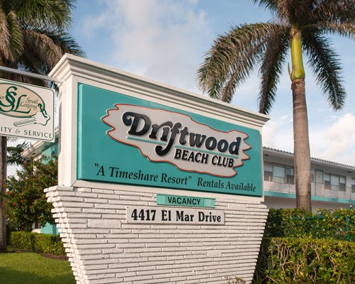 Signboard of Driftwood Beach Club.