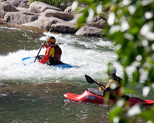 An outdoor view of whitewater kayaking.