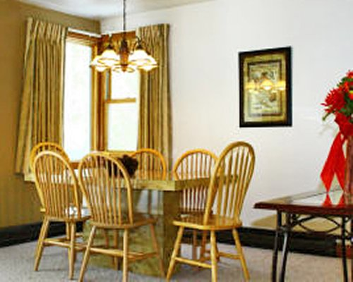A furnished dining area.