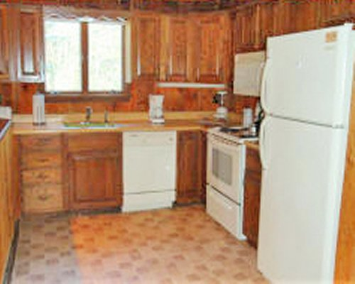 A well furnished kitchen with stove refrigerator and outside view.