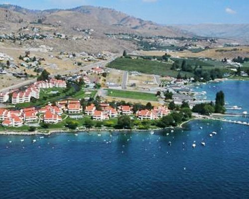 An aerial view of Lake Chelan Shores resort alongside lake.