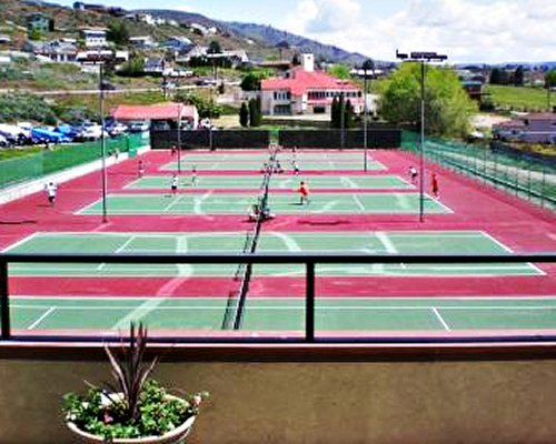 Multiple outdoor tennis courts.