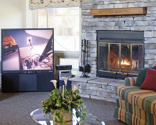 An indoor living room with television and fireplace.