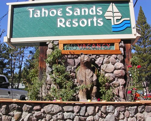 A signboard of the Tahoe Sands Resort.