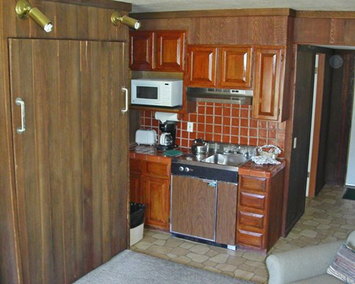 An open plan unit with kitchen.