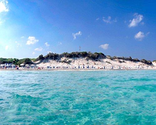 Ocean view of a sandy beach front.