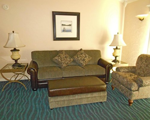 A well furnished living room with double pull out sofa.