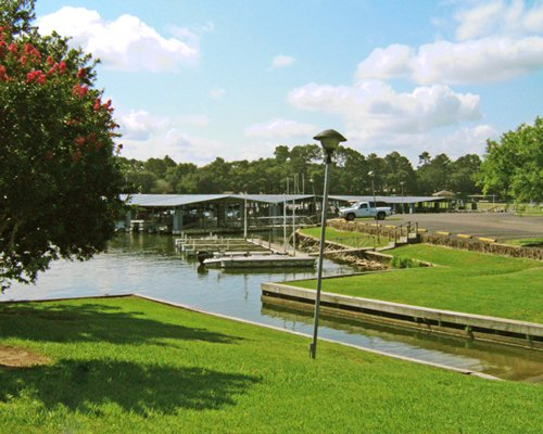 A well maintained and landscaped boating area.