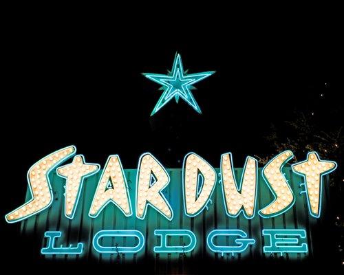 Neon lights of Stardust Lodge.