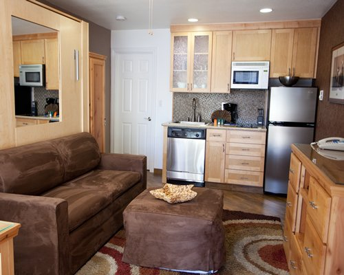 A well equipped open plan kitchen with telephone and a double pull out sofa.