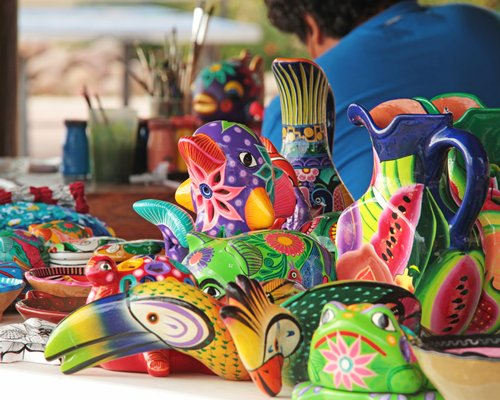 An artist performing art and craft.