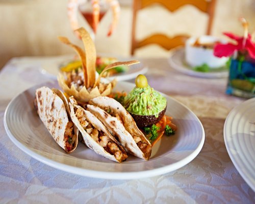 Tacos served in a restaurant at Vacation Internationale Torres Mazatlan.