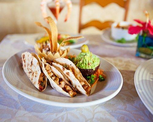 Tacos served in a restaurant at Vacation Internationale Torres Mazatlan.