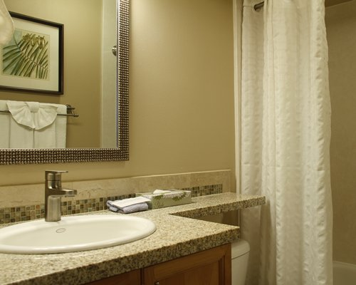 An open sink vanity with toilet and bathing area.