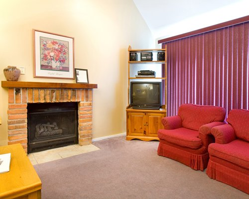 Furnished living room with television and fireplace.