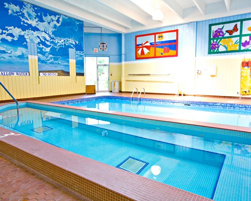 View of indoor kiddie and adult swimming pool.