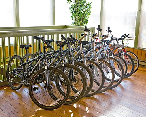 An indoor bicycle parking area.
