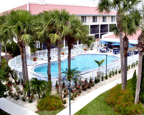 An outdoor swimming pool with alongside palm trees and a multi story resort unit.