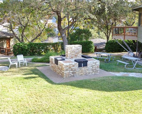 Scenic picnic area with patio furniture.
