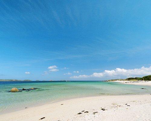 Beach view of Caribbean waters.