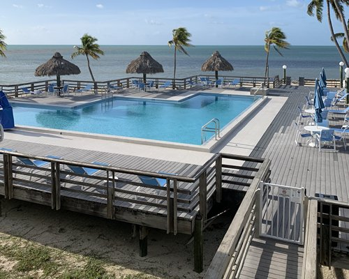 An outdoor swimming pool with thatched sunshades palm trees and chaise lounge chairs with ocean view.