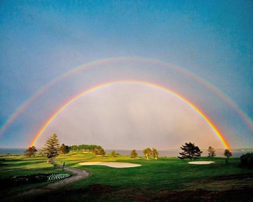 Scenic view of a gold course beneath a rainbow.