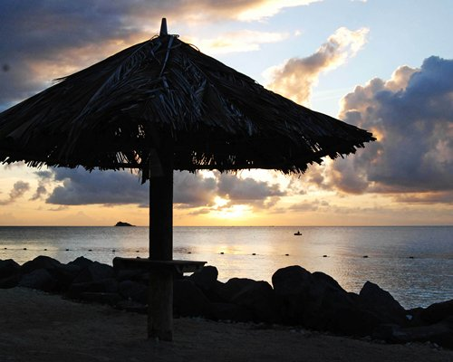 A dusk view of the ocean with thatched sunshades.