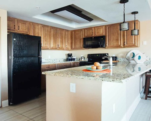 A well equipped kitchen with open plan dining area.