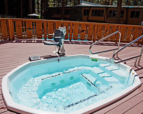 A view of an outdoor hot tub.