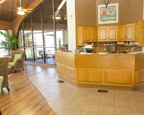 A well furnished Emerald Isle Condominiums resort reception.